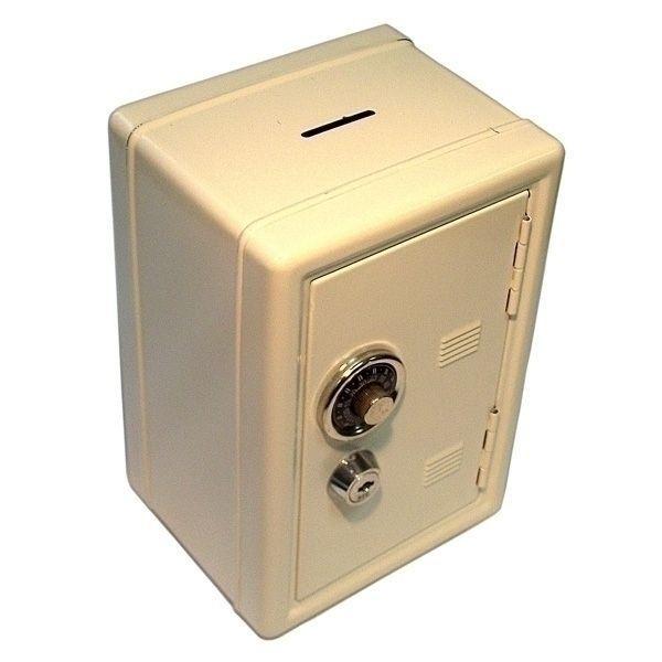 Копилка сейф с ключом белая метал