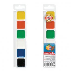Краски акварельные KOH-I-NOOR, 6 цветов, медовые, без кисти, пластиковая коробка, европодвес, FA-KIN-106