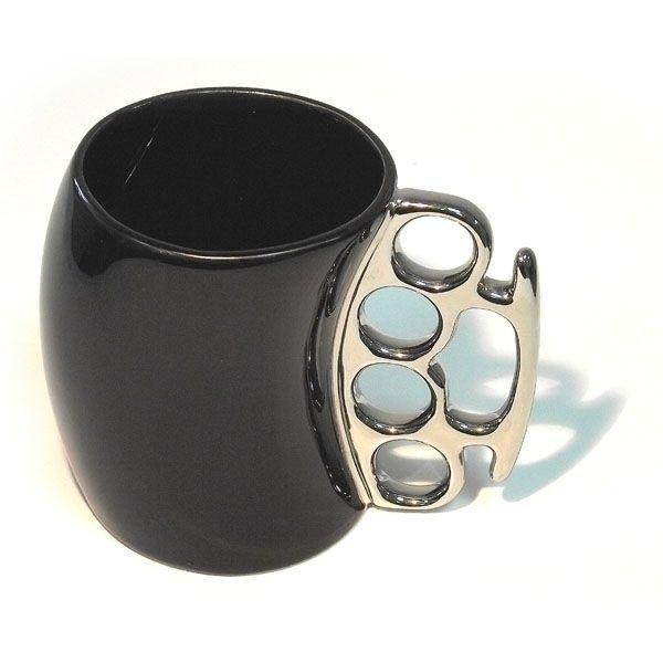 Кружка Кастет черная с серебристой ручкой