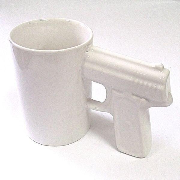 Кружка Пистолет белый керамика