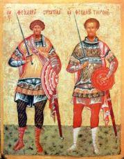 Икона Феодор Стратилат и Феодор Тирон (копия 15 века)