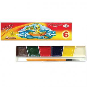 """Краски акварельные ГАММА """"Мультики"""", 6 цветов, медовые, с кистью, картонная коробка, 211047"""