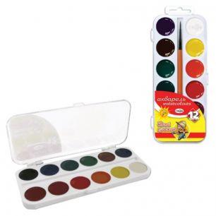 """Краски акварельные ГАММА """"Юный художник"""", 12 цветов, медовые, с кистью, пластиковая коробка, 212070"""