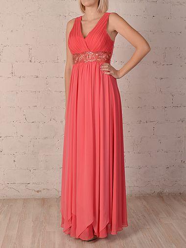 Нежное шифоновое платье в греческом стиле цвета коралл