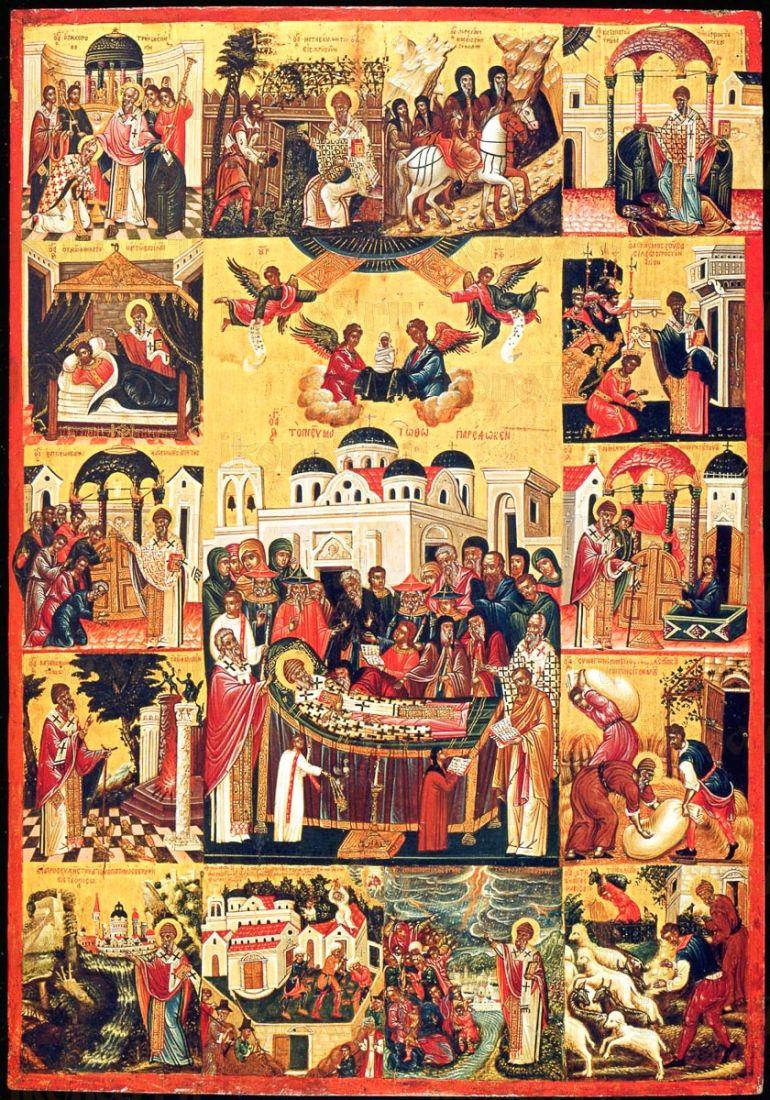 Икона Спиридон Тримифунтский (копия 16 века)