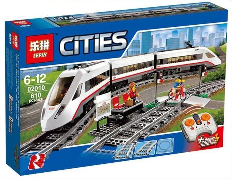 """LEPIN CITIES """" Скоростной пассажирский поезд """" 610 деталей NO.02010 ( CITY 60051 )"""