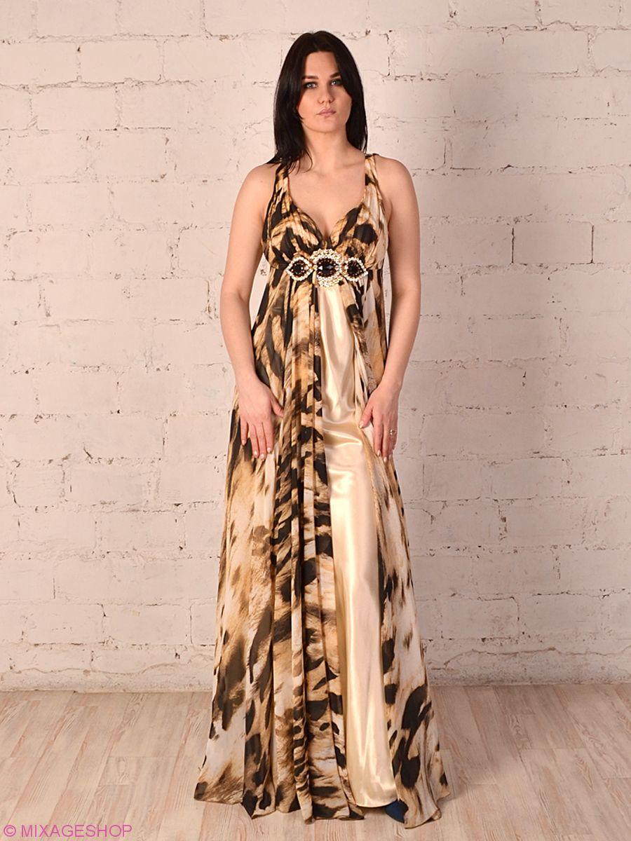 Эффектное длинное платье тигровой расцветки