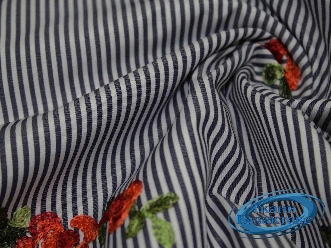 """Рубашечная ткань полоска """"вышивка"""" 16491/D2/C#2"""