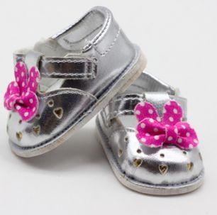 Обувь для кукол 6,5 см - сандалики серебряные с бантиком