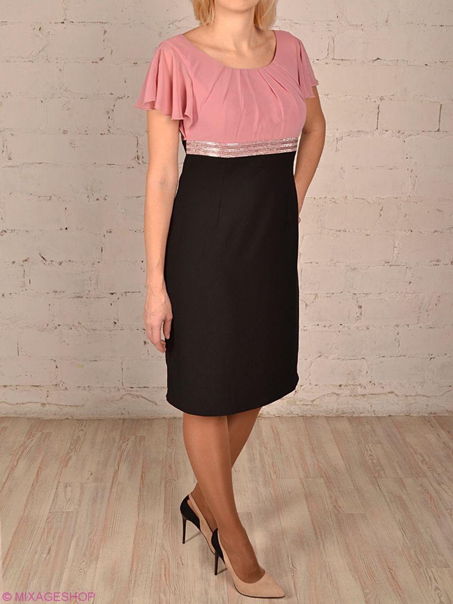 Платье из габардина с шифоновым верхом