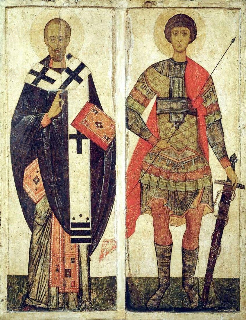 Николай Чудотворец и Георгий Победоносец (копия иконы 14 века)