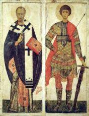 Икона Николай Чудотворец и Георгий Победоносец (копия 14 века)