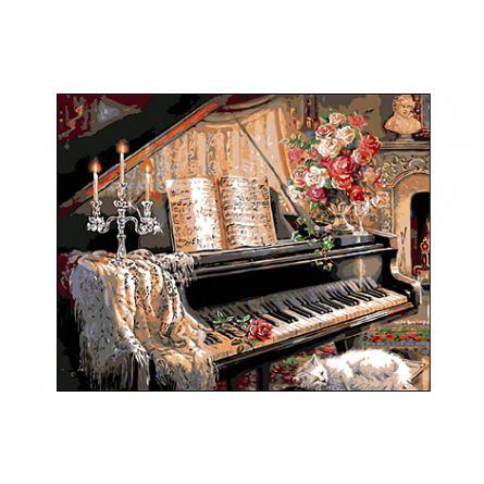Роспись по холсту Композиция с роялем 40х50см