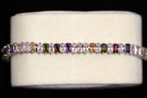 Позолоченный белым золотом браслет с багетными цирконами (арт. 305106)