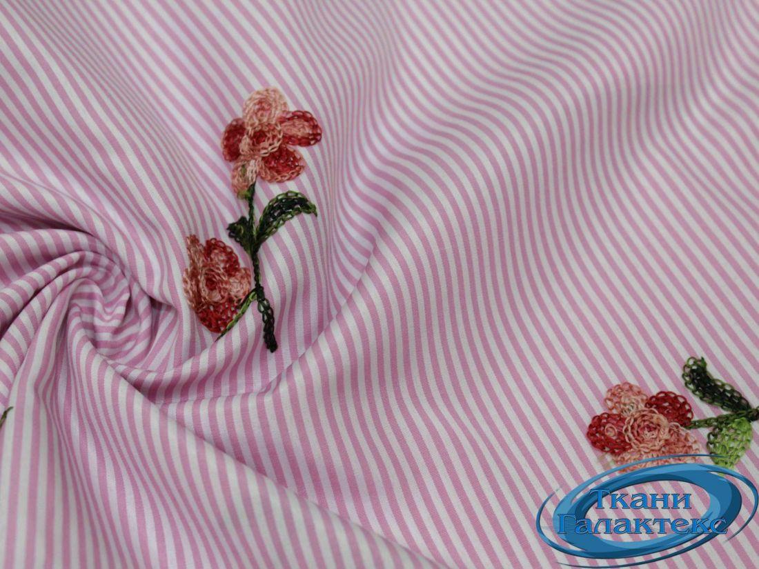 """Рубашечная ткань полоска """"вышивка"""" 16491/17A/D3/C#2"""