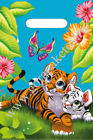 """Пакет с  прор. ручкой 20*30 см """"Тигрята"""" 100 шт. 30 мкм"""