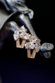 Позолоченные серьги с искусственными бриллиантами (арт. 305109)