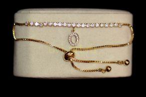 """Позолоченный браслет """"Модерн"""" с искусственными бриллиантами (арт. 305127)"""