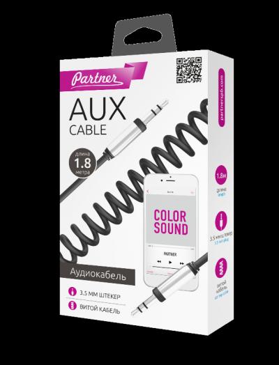 Аудиокабель AUX 3.5мм(m)-3.5мм(m), длина 1.8м, витой провод, металлический штекер, черный, Partner