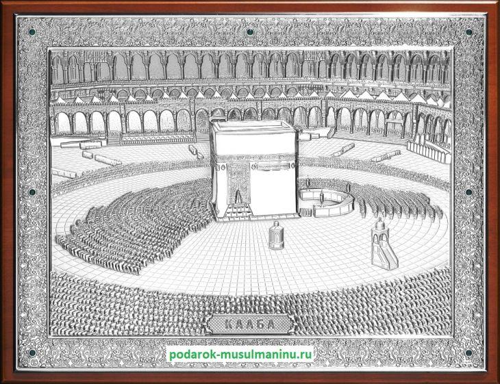 Священная Кааба с изумрудами (серия «Классика», серебро), 35*26см.