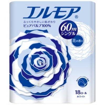 ELLEMOI Ароматизированная туалетная бумага, 4 рулона, однослойная, 60 м (Япония)