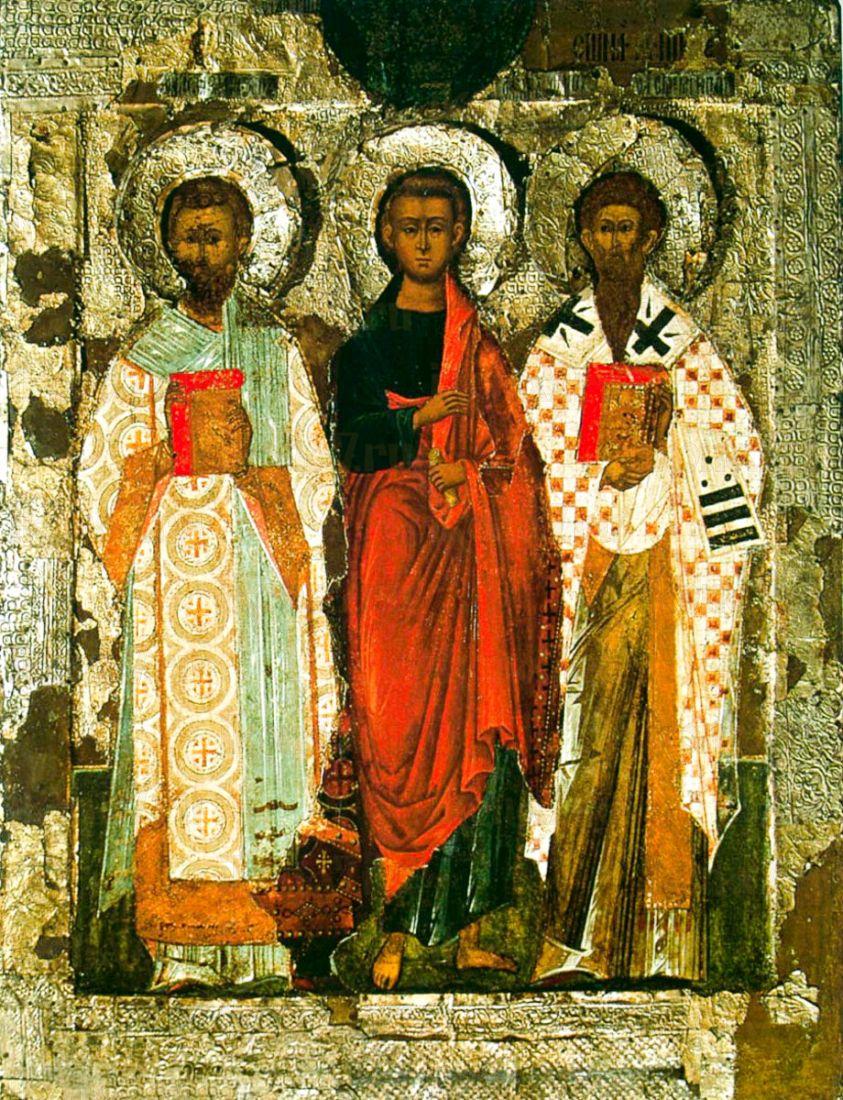 Икона Апостол Филипп, Иоанн Златоуст и Ипатий Гангрский (копия 16 века)