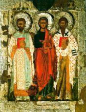 Апостол Филипп, Иоанн Златоуст и Ипатий Гангрский (копия иконы 16 века)
