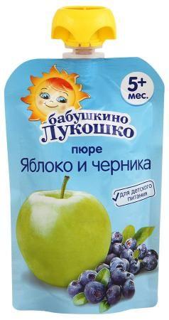 Пюре Бабушкино Лукошко яблоко/черника 90г Пауч