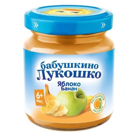 Пюре Бабушкино Лукошко яблоко/банан б/с с 6мес. 100г