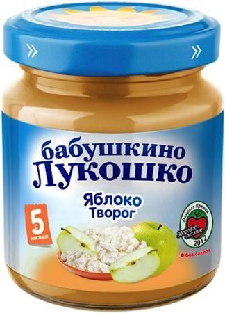 Пюре Бабушкино Лукошко из яблок с творогом 100г