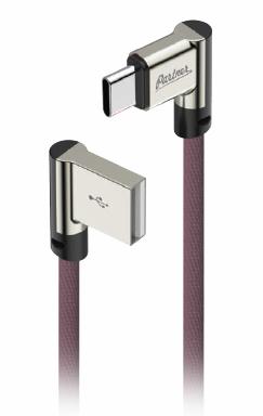 Кабель USB 2.0 - USB Type-C, 1м, угловой, тканевая оплетка, цвет марсала, Partner