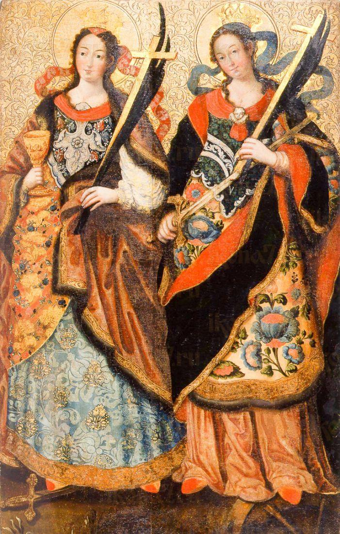Икона Екатерина и Варвара (копия старинной)