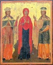 Икона Екатерина, Варвара и пророчица Анна (копия старинной)