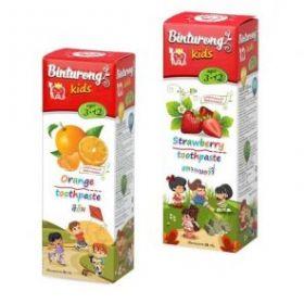 Детская гелевая зубная паста Бинтуронг, 50г  (вкусы: клубника или апельсин)