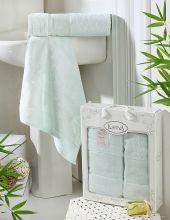 Комплект из 2-х бамбуковых полотенец PANDORA 50*90+70*140(св.зеленый) Арт.2197-12