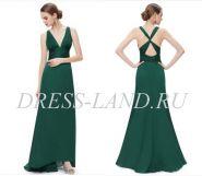 Зеленое платье с V-образным вырезом