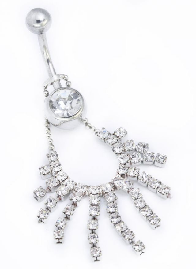 TOP DOWN 36 STONE NECKLACE BELLY NAVEL RING