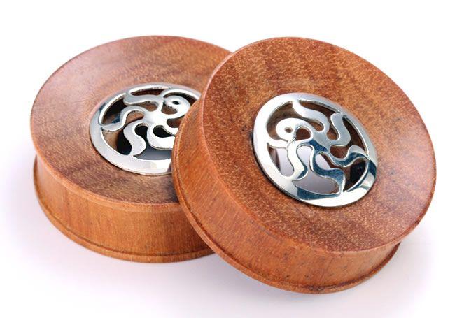 Плаги. из дерева саба со вставкой из серебра