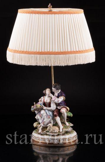 Изображение Пасторальная пара, лампа, Volkstedt, Германия, сер. 20 в