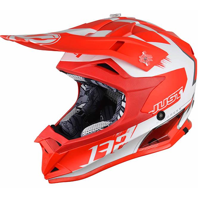 Just1 - J32 Pro Kick White/Red шлем, бело-красный матовый