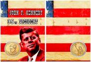 ДЖОН Ф. КЕННЕДИ - 35 президент США, 1 доллар 2015 года UNC в ПОДАРОЧНОМ ПЛАНШЕТЕ