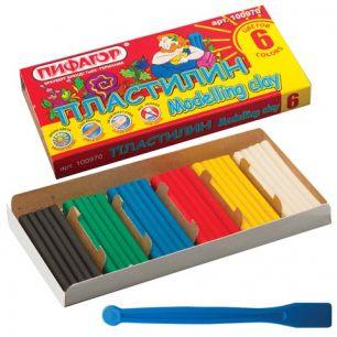 Пластилин классический ПИФАГОР, 6 цветов, 120 г, со стеком, картонная упаковка, 100970