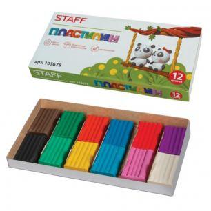 Пластилин классический STAFF, 12 цветов, 120 г, картонная упаковка, 103678