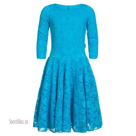 Платье для бальных танцев бирюзовое