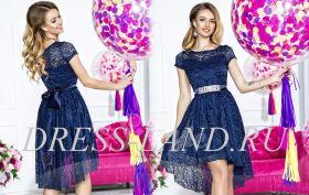 Темно-синее кружевное платье