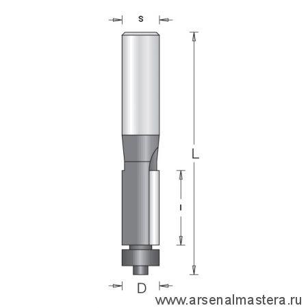 Фреза концевая обгонная с нижним подшипником D6.35 L52 I12.7 S6 DIMAR 1011013