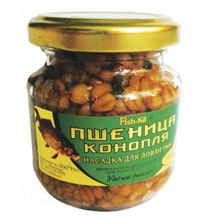 Консервированная натуральная насадка FISH.KA Пшеница-Конопля (мед) объем 110 мл