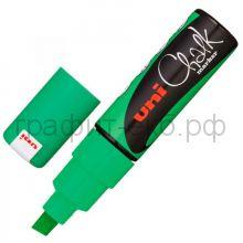 Маркер меловой UNI 8мм флюор.зеленый PWE-8К