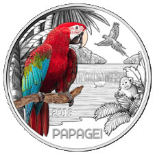 Попугай 3 евро Австрия 2018