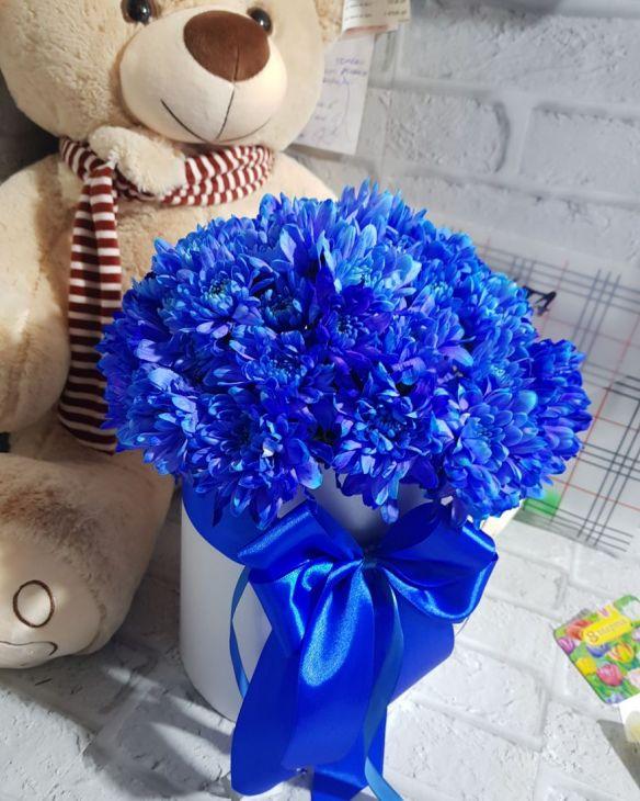 коробочка из синих хризантем
